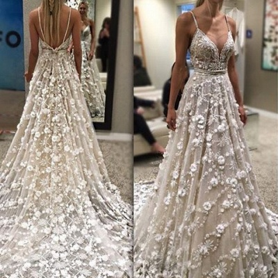 Glamorous Spaghetti-Straps Backless Sexy Flowers Wedding Dress_3