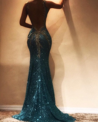 Shiny Sequins Mermaid Evening Dresses | Sexy Spaghetti Straps Open-Back Prom Dresses_3