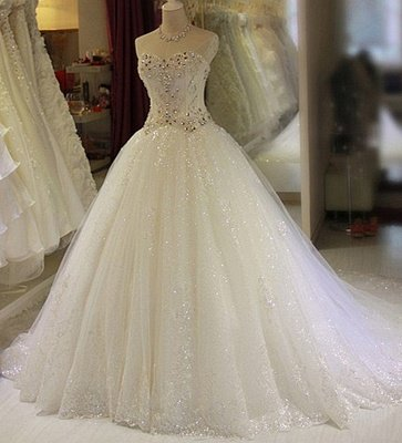 Glittery Beaded Wedding Dresses | Sweetheart Sleeveless Lace Appliques Bridal Gowns_1