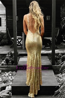 Sequins Open Back Sexy Gold Evening Gowns_1