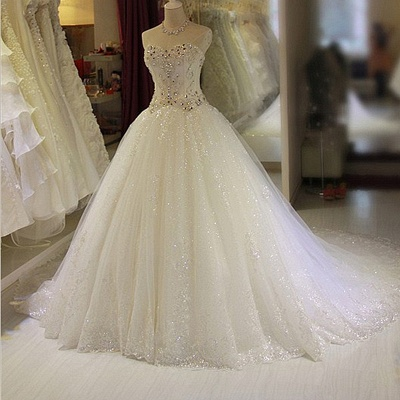 Glittery Beaded Wedding Dresses | Sweetheart Sleeveless Lace Appliques Bridal Gowns_4