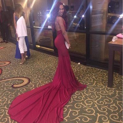 Simple Mermaid Long Side-Slit Burgundy Open-Back Prom Dresses_3