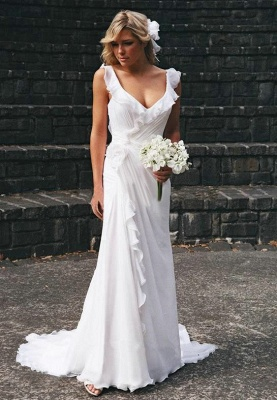 Simple Sweetheart Sheath Chiffon Beach Wedding Dresses | Destination Bridal Dresses