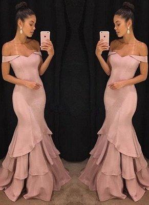 Elegant Pink Mermaid Prom Dresses | Off-the-Shoulder Long Evening Gowns_1