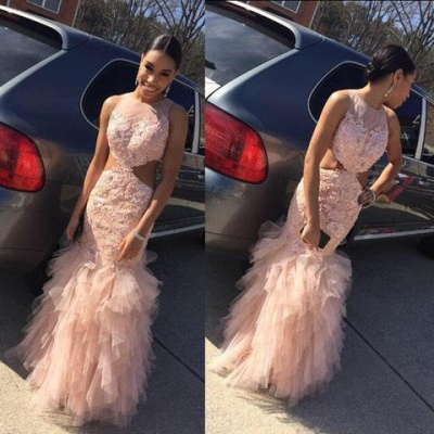 2019 Pink Mermaid Prom Dresses Lace Cutaway Sides Tiers Tulle Sexy Formal Gowns_3