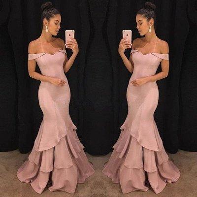 Elegant Pink Mermaid Prom Dresses | Off-the-Shoulder Long Evening Gowns_3