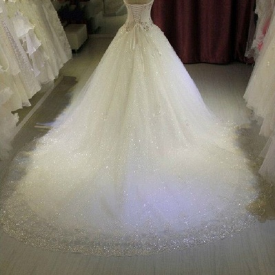 Glittery Beaded Wedding Dresses | Sweetheart Sleeveless Lace Appliques Bridal Gowns_3