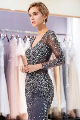 Mermaid V-neck Long Sleeves Sparkly Beading Prom Dress | 2019 Evening Dress_5