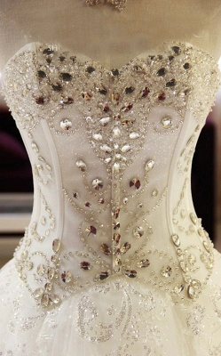 Glittery Beaded Wedding Dresses | Sweetheart Sleeveless Lace Appliques Bridal Gowns_5