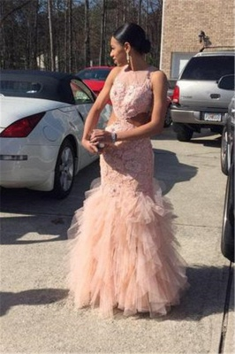 2019 Pink Mermaid Prom Dresses Lace Cutaway Sides Tiers Tulle Sexy Formal Gowns_2