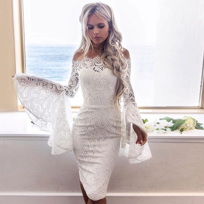 White Lace Long Sleeves Homecoming Dress   Bodycon Short Formal Dress_3
