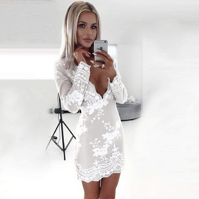 White Lace Long Sleeves Homecoming Dress   Bodycon Short Formal Dress_4