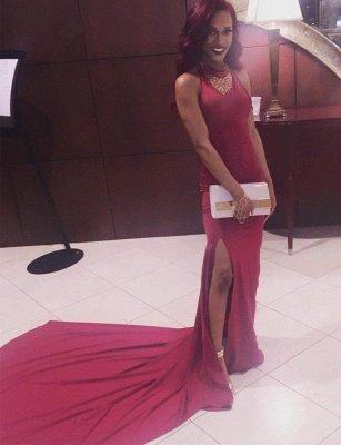 Simple Mermaid Long Side-Slit Burgundy Open-Back Prom Dresses_4