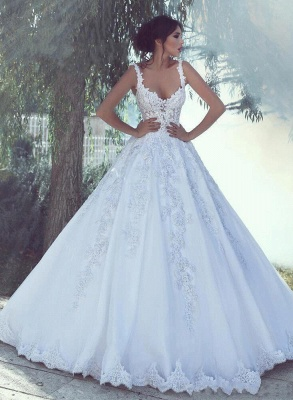 Sexy Straps Sweetheart Applique Lace A Line Wedding Dresses_2