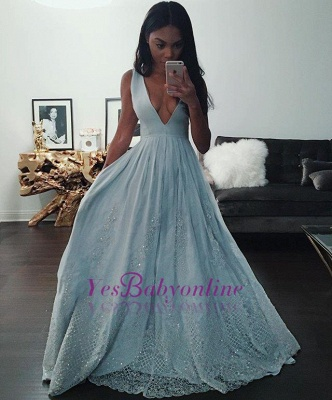 Pretty Beading Lace Baby-Blue V-neck Sleeveless Prom Dress_1