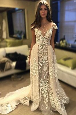 Glamorous Delicate Short Sleeve Lace Appliques Wedding Dress_1