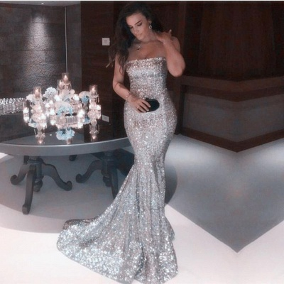 Sparkly Sequins Mermaid Prom Dresses Strapless Party Dresses_3
