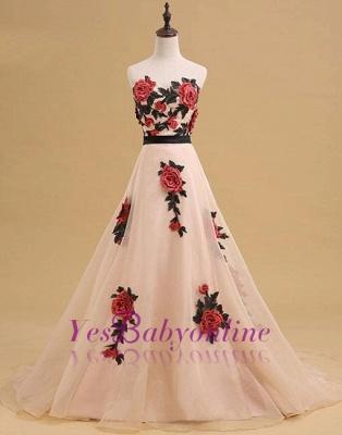 Champagne Long Elegant Sleeveless Flowers Strapless Evening Dress_4
