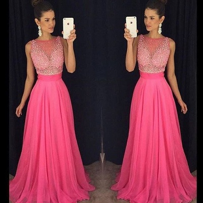 Fuchsia Beadings Sleeveless Newest  A-Line Prom Dress_3