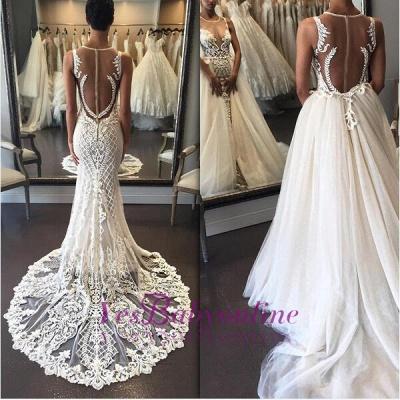 Sleeveless Lace Zipper Exquisite Illusion Detachable-Train Wedding Dress_1