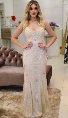 Brilliant Crystals Straps Mermaid Beading Prom Dresses_3