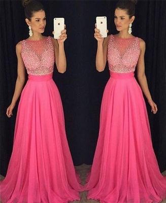 Fuchsia Beadings Sleeveless Newest  A-Line Prom Dress_2