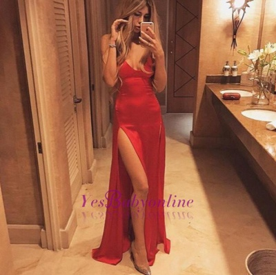 Floor-Length Red Spaghetti-Strap Sexy Split Prom Dress_1