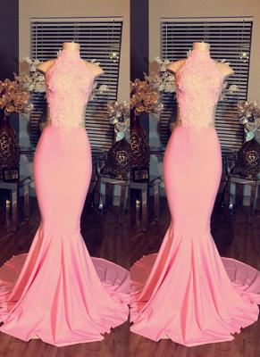 2019 Pink Mermaid Prom Dresses High Neck Sleeveless Elegant Evening Gowns_2
