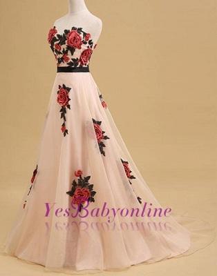 Champagne Long Elegant Sleeveless Flowers Strapless Evening Dress_3