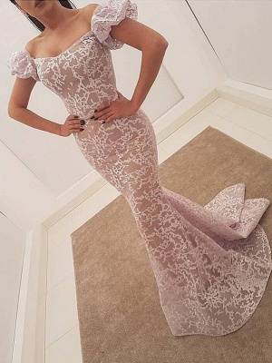 Elegant Lace Mermaid Evening Dresses | Juliet Sleeves Long Prom Dresses_1