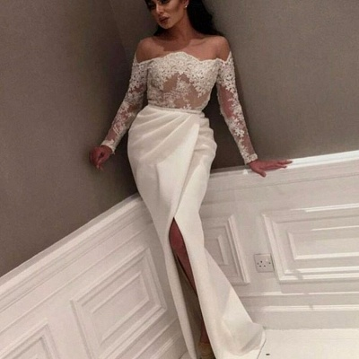 White Off-the-Shoulder Prom Dresses | Sexy Side-Slit Evening Gowns_3