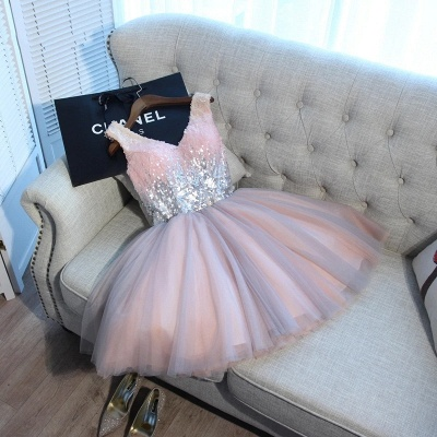 A Line Sequins Homecoming Dresses | V-Neck Lace-Up Short Prom Dress_5