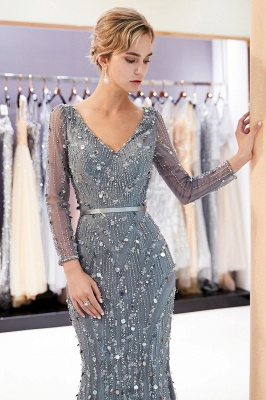 Mermaid  Sequins V-neck Long-Sleeves Prom Dress with Sash | 2019 Evening Dress_4