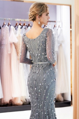 Mermaid  Sequins V-neck Long-Sleeves Prom Dress with Sash | 2019 Evening Dress_5