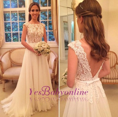 Chiffon Applique A-Line Open-Back Cap Sleeves Glamorous Wedding Dresses_1