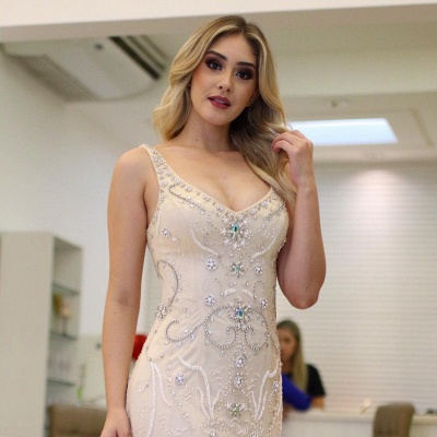 Brilliant Crystals Straps Mermaid Beading Prom Dresses_4