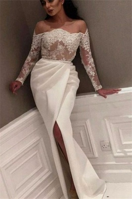 White Off-the-Shoulder Prom Dresses | Sexy Side-Slit Evening Gowns_2