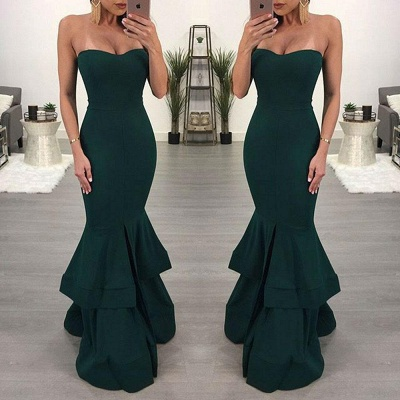 Sexy Mermaid Evening Dresses | Layers Front Slit Long Prom Dresses_4