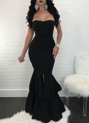 Sexy Mermaid Evening Dresses | Layers Front Slit Long Prom Dresses_6