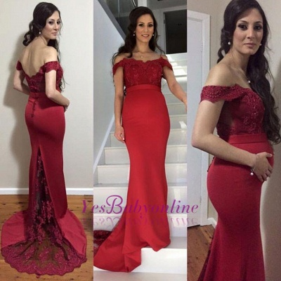 Sweep-Train Maternity Mermaid Newest Lace Zipper Off-the-shoulder Prom Dress_1