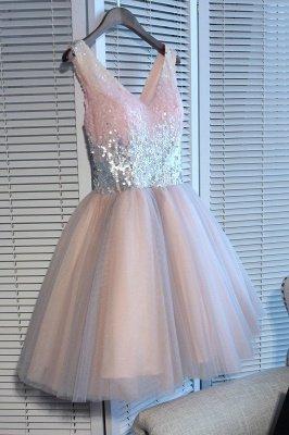 A Line Sequins Homecoming Dresses | V-Neck Lace-Up Short Prom Dress_4