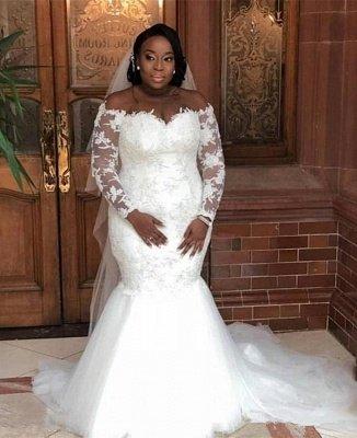 Plus Size Long Sleeve Applique Pearls Mermaid Wedding Dresses_2