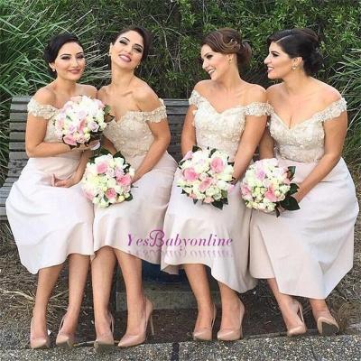 Short Lace Glamorous Off-the-Shoulder Bridesmaids Dress_1