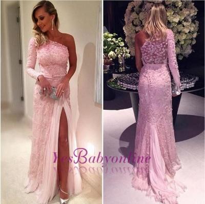 Split Lace Long-Sleeve Elegant Pink Evening Dresses_1