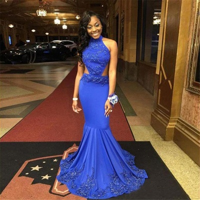 Open-Back Lace-Appliques Mermaid Royal-Blue Halter-Neck Prom Dresses_5