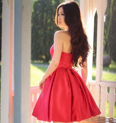 Simple Red Short Homecoming Dresses | Sweetheart Neck Puffy Cocktail Dress_3