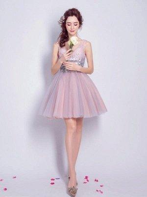 A Line Sequins Homecoming Dresses | V-Neck Lace-Up Short Prom Dress_1