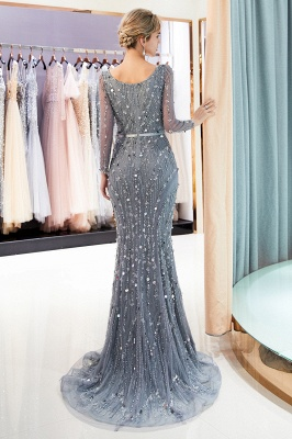 Mermaid  Sequins V-neck Long-Sleeves Prom Dress with Sash | 2019 Evening Dress_3