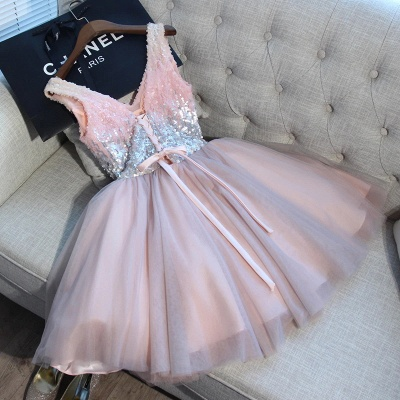 A Line Sequins Homecoming Dresses | V-Neck Lace-Up Short Prom Dress_6