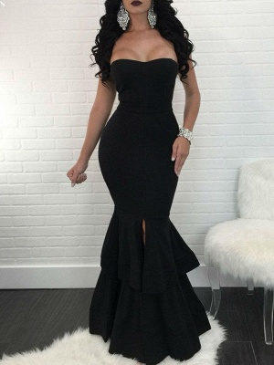 Sexy Mermaid Evening Dresses | Layers Front Slit Long Prom Dresses_1